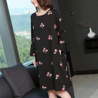 MM retro New style embroidered dress (Black)