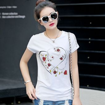 MM simple cotton white female short-sleeved t-shirt shirt T-shirt (3713 white)