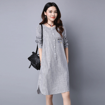 MM stitching vertical stripes printed irregular skirt dress