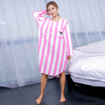Mm200 milk silk female autumn long-sleeved Plus-sized dress (Long-sleeved: behind Mickey Deep Powder)