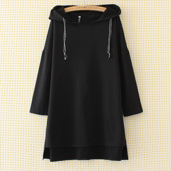 Mm2017 female New style mid-length hoodie dress Plus-sized dress (Black)