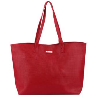 MNG Mango Braided Shopper Tote Bag (Red)