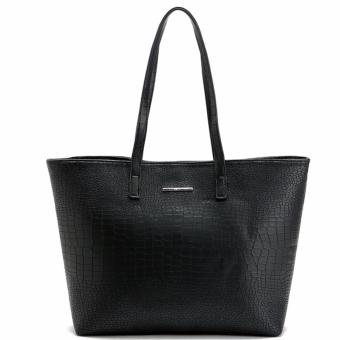 MNG Mango Croco Shopper Tote Bag (Black)