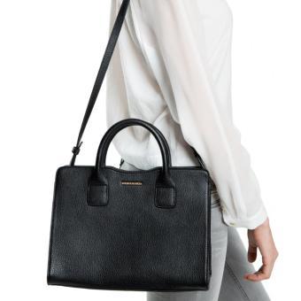 MNG Mango Mini Pebbled Effect Tote Bag (Black) - 3