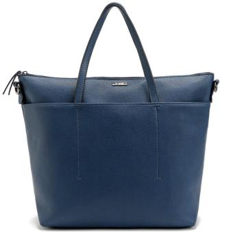 MNG Mango Pebbled Shopper Zip Tote Bag (Blue)