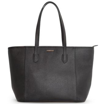 MNG Mango Saffiano Effect Shopper Zip Tote Bag (Black)