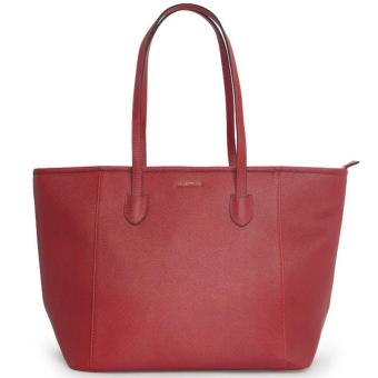MNG Mango Saffiano Effect Shopper Zip Tote Bag (Red)