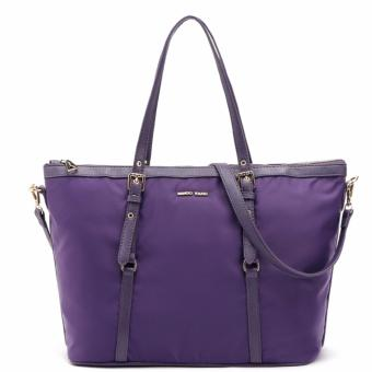 MNG Mango Tessuto Shopper Zip Tote Bag (Bilberry)