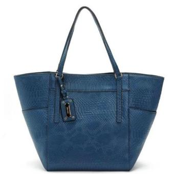 MNG Mango Textured Shopper Tote Bag (Blue)