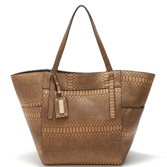 MNG Mango Textured Shopper Tote Bag (Brown)