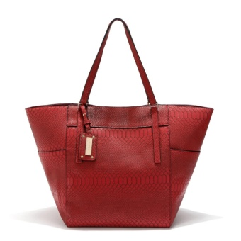 MNG Mango Textured Shopper Tote Bag (Red)