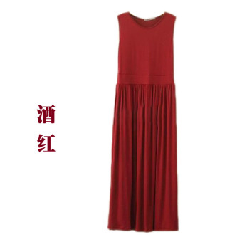 Modal loose thin long paragraph beach dress sling base skirt (Wine red color)