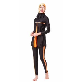 Modest Islamic Swimwear Islamic Swimsuit Women Hijab Swimwear Full Coverage Swimwear Muslim Swimming Beachwear Swimsuit Sport Clothing Dress Orange - intl