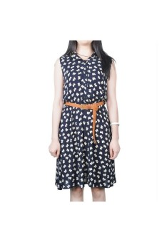 Moonar Floral Prints Bowknot Sleeveless Dress (Black)