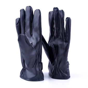 Moonar Mens Winter Warm PU Leather Soft Full Fingers Gloves