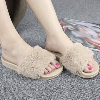 Moonar New Women Fashion Platforms Heel Slip-on Plush Slippers Leisure Shoes (Dark camel) - intl