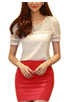 Moonar Short Sleeve Lace Hollow Out Shirt Blouse White Price Philippines