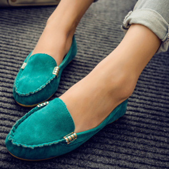 Moonar Women Fashion Popular Casual Pure Color Boat Shoes Low CutSuede Vamp Slip-on Shoes Loafers (Blue) Price Philippines
