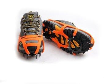 Mountaineering Hiking Crampons 18Teeth Outdoor Antislip Ice Shoe Spikes L orange - 2