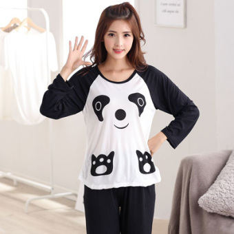 Mouth cotton long-sleeved Plus-sized women home clothes women pajamas (NS black bear biscuits)