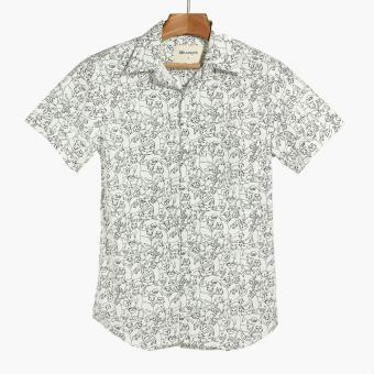 Mr. Smyth Mens Graphic Pattern Casual Shirt (White)