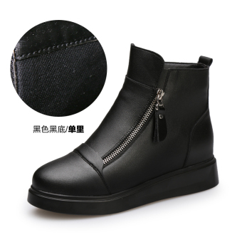 Muffin thick bottomed Martin boots Korean-style casual shoes (Black black (single in))