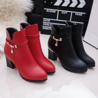 MUJIPOEM Women Martins Ankle Boots Fashion Ladies Shoes (Black) - intl - 4