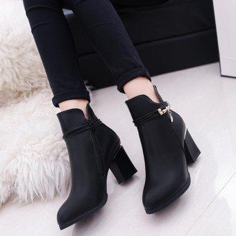 MUJIPOEM Women Martins Ankle Boots Fashion Ladies Shoes (Black) - intl - 5