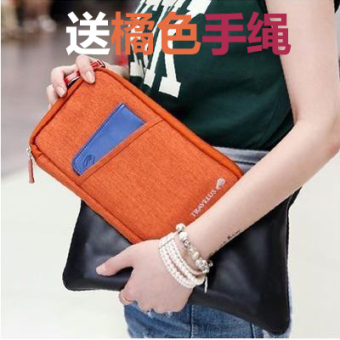 Multi-functional documents bag ticket passport clip wallet documents bag (Orange)
