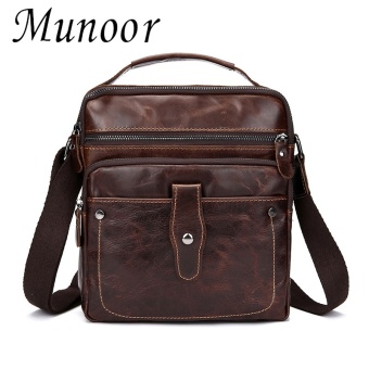 Munoor 100% Genuine Cow Leather Messenger Bags Business Bags MenLaptop Travel Holder - intl