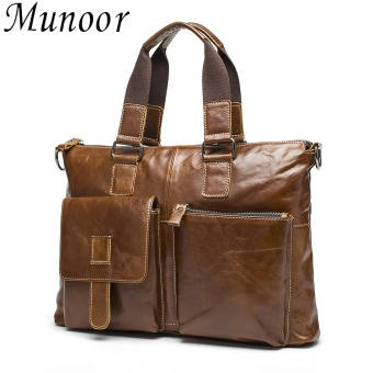 Munoor Genuine Cow Leather Bag Men Shoulder Crossbody Bags Men'sTravel Messenger Bags Briefcases Leather Laptop Handbag - intl