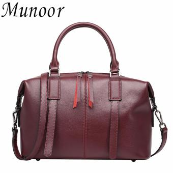 Munoor Italian 100% Genuine Cow Leather Women Top-handle Bags Fashionable Lady Shoulder Bags (Burgundy) - Int'L - intl