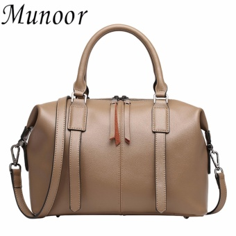 Munoor Italian 100% Genuine Cow Leather Women Top-handle Bags Fashionable Lady Shoulder Bags (Khaki) - Int'L - intl
