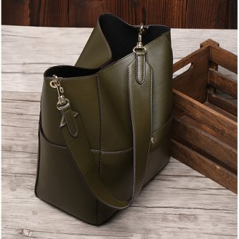 Munoor Italian 100% Genuine Cow Leather Women Tote Bags Fashionable Handbags Shoulder Bag for Travel (Deep Green) - intl