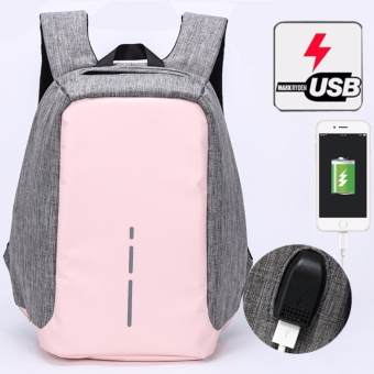 Munoor Unisex Anti-theft Backpacks USB Charging Port Business Travel 14inch Laptop Bag School College Bag Daypack (Pink) - intl