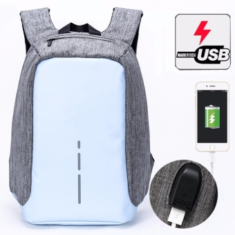 Munoor Unisex Anti-theft Backpacks USB Charging Port Business Travel 14inch Laptop Bag School College Bag Daypack (Sky Blue) - intl