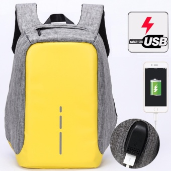 Munoor Unisex Anti-theft Backpacks USB Charging Port Business Travel 14inch Laptop Bag School College Bag Daypack (Yellow) - intl