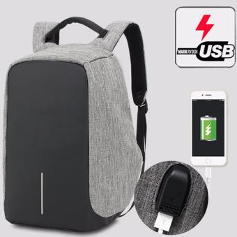 Munoor Unisex Anti-theft Backpacks USB Charging Port Business Travel 15.6inch Laptop Bag School College Bag Daypack (Grey) - intl