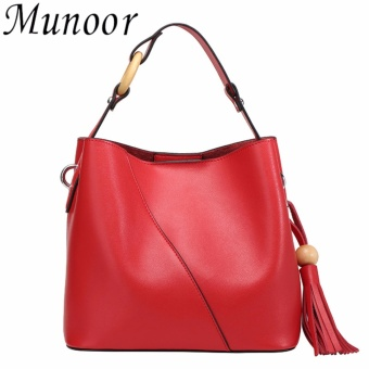 Munoor Women Handbags Italian 100% Genuine Cow Leather Fashinable Shoulder Bags Crossbody Top-handle Holder (Red) - intl