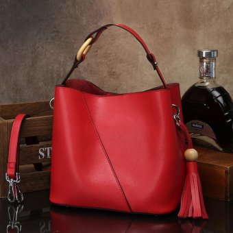 Munoor Women Handbags Italian 100% Genuine Cow Leather Fashinable Shoulder Bags Crossbody Top-handle Holder (Red) - intl - 2