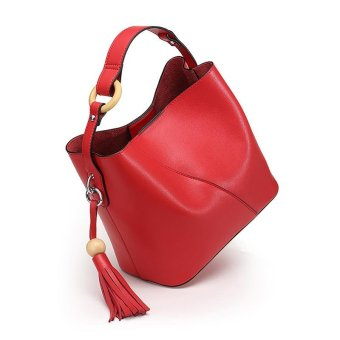 Munoor Women Handbags Italian 100% Genuine Cow Leather Fashinable Shoulder Bags Crossbody Top-handle Holder (Red) - intl - 4