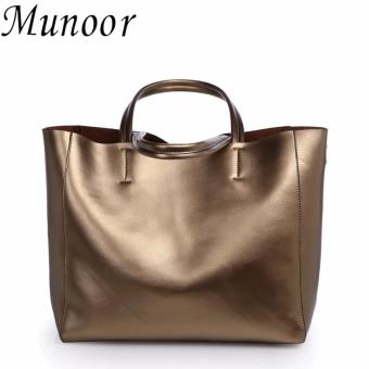 Munoor Womens Tote Bags 100% Genuine Cowhide Leather Fashionable Shoulder Lady Bags Handbags for Travel (Champagne) - intl