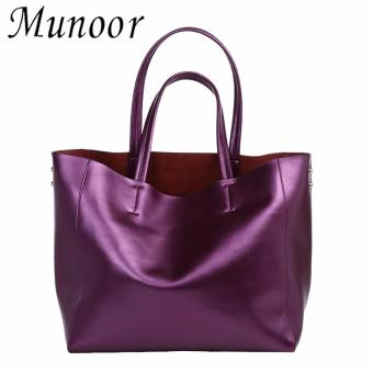 Munoor Womens Tote Bags 100% Genuine Cowhide Leather Fashionable Shoulder Lady Bags Handbags for Travel (Purple) - intl