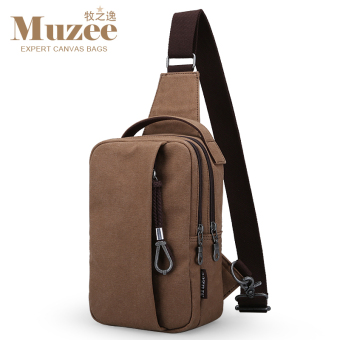 MUZEE Korean-style men's messenger bag chest pack (Light coffee color (general paragraph))
