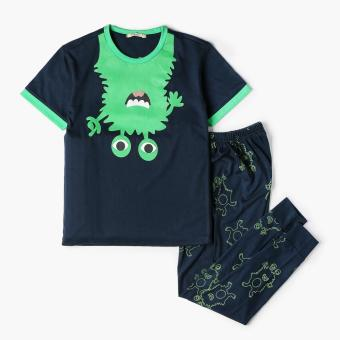 Nap Baby Boys Monster Pajama Set (Navy Blue)