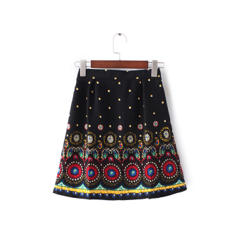 National style big flowers printed Skirt (Red flowers)