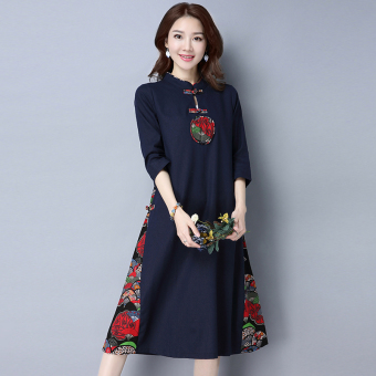 National Style cotton linen cheongsam dress Dress (Dark blue color)