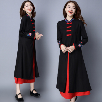 National Style cotton linen New style embroidered dress