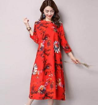 National Style cotton linen printed three-quarter-length sleeve round neck dress A-line dress (Red) (Red)
