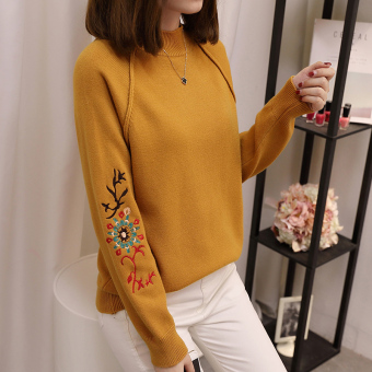 National Style embroidered flower semi-high collar base sweater (Khaki)